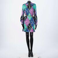 GUCCI 3200$ Silk GG Rhombus Ramage Shirt Dress With Chain Belt