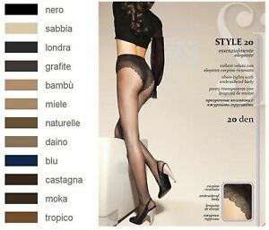 Sisi Style 20 Sheer Tights With Panties Slipée Dentelle - Size 1 /2/3 /4/5