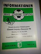 Programm 1990 FS Chemie Leipzig Hannover 96 Bundesliga HSV DDR Oberliga Sachsen