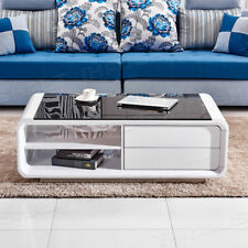 Coffee Table High Gloss Modern Design White Black Glass MDF End Side Living Room 2drawer 2shelf
