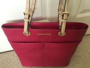 Michael Kors Bedford Pocket Tote, Ultra Pink/Cream Straps, BRAND NEW