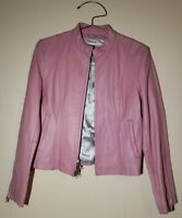 Wilsons Leather Maxima Womens 100% Leather Moto Jacket Pink Sz Medium