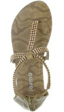*NEW in Box Girls Rhinestone Thong Sandals in Tan Snake Size 1 *Missing 1 Stone*