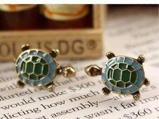 2 Ohrringe Schildkröte Bronze golden türkis grün Vintage Gold Frauen Geschenk