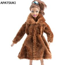Dark Brown Doll Outfits Clothes For 1/6 Doll Fur Coat Doll Dresses For 1/6 Doll