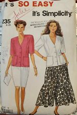 Vtg Simplicity It's so easy pattern 7235 Misses Jacket, Skirt, Culotte sz 8 - 20