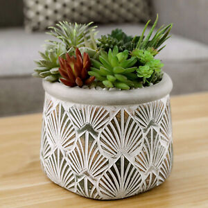 6-Inch Gray Cement Cylindrical Succulent Planter Pot w/ Embossed Leaf Pattern