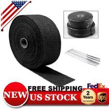 50Ft Roll Black Fiberglass Exhaust Header Pipe Heat Wrap Tape+6 Ties Kit BP