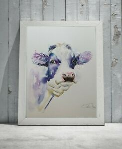New Elle Smith large original signed watercolour art painting of a Holstein Cow