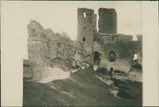 Estonie, Les ruines du vieux château à Wesenberg (Rakvere), 1915, vintage silver