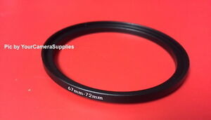 1(one) Black METAL 67mm to 72mm 67-72mm Step-Up Filter Ring-Adapter M67-F72 mm