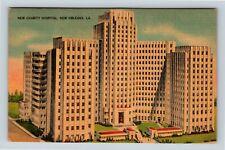 New Orleans LA, New Charity Hospital, Linen Louisiana Postcard