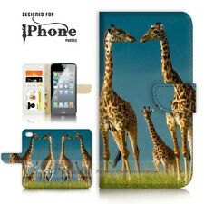 ( For iPhone 5 / 5S ) Wallet Case Cover P21130 Giraffe