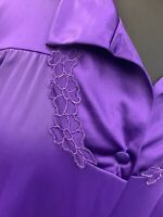 Vanity Fair Vintage PURPLE Embellished Nylon Robe Made USA Womens MEDIUM  sexy*J