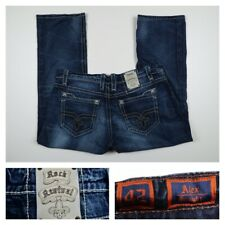 Rock Revival Alex Mens Straight Thick Stitch Studded Relaxed Denim Jeans Size 42