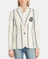 Lauren by Ralph Lauren Women Sz 6 Monogram Striped Blazer One Button Cream $275