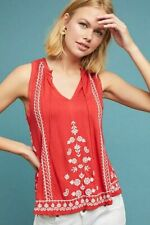 NWT $68 ANTHROPOLOGIE AKEMI KIN CHELSEY HALTER EMBROIDERED BLOUSE TANK TOP RED M