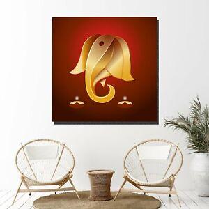 Om on Ganesha Indian Hindu Gods Canvas Art Print for Wall Decor