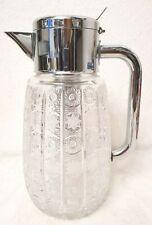Kristall Glas Krug, Kalte Ente mit verchromter Metallmontur,Dekorschliff(G493)x