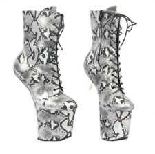 Ladies Snakeskin Pattern Extreme High Heel Fetish Heelless Horse Sole Boots L