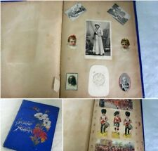 More details for rare antique 1901 english scrapbook album 12 full pages of stickers