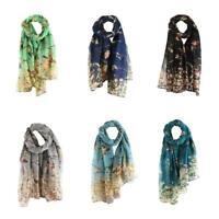 Women Long Shawl Warm Wrap Shawl Scarves Floral Bird Black Scarf Elegant Pr L7S4