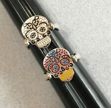 Reversible Double Mexican 925 Silver Painted SUGAR SKULL Dia de Muertos Ring S 6