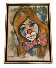 RARE JORGE CASTILLO Signed Original Surrealist Sad Clown Crying SIGNED