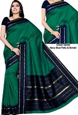 Beautiful Indian Ethnic Temple Border Handloom Art Silk Saree Sari Green