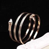 Statement Bib Punk rock metal style Gold plated snake Wrist Bracelet Bangle
