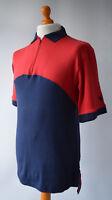Men's Vintage, Red & Blue Lyle & Scott Short Sleeved Polo Shirt Size M.