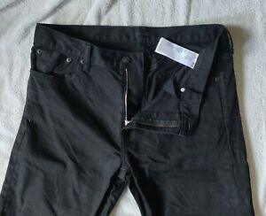 Uniqlo Selvedge Black Jeans Slim Fit 35x36 Trousers Very Good Condition
