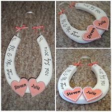 Personalised Wooden Horseshoe Wedding Gift Bride Groom Love Heart Mr & Mrs