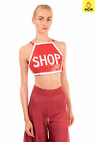 RRP €870 MOSCHINO COUTURE ! Cropped Top Size 40 / S Sequined Embellished 'SHOP'