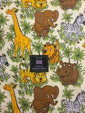 Jungle Animal Zoo Lion Giraffe Childrens Printed 100% Cotton Poplin Fabric.