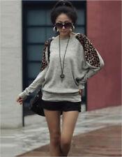 Women's Ladies Leopard Print Batwing Long Sleeve Loose Fit Top/tunic/T-shirt