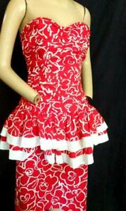 """1980'S VINTAGE STRAPLESS RED & WHITE RUCHED PEPLUM DRESS -34"""" BUST PROM"""