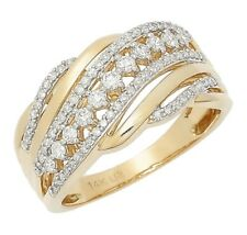 Lady's 14 KT Yellow Gold Crossover Diamond Cluster Ring