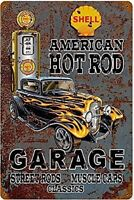 Cover Americana Hot Rod Garage Arrugginiti Segno Del Metallo 450mm x 300mm (Pst)