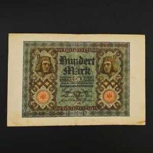 German World War Period 1920 100 Mark Reichsbanknote fine