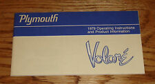Original 1979 Plymouth Volare Owners Operators Manual 79