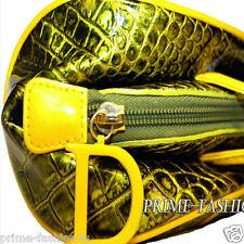 John Galliano Christian Dior Metallic Green Yellow Color Patent Leather  Handbag