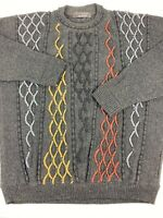 Vtg 90s Coogi Style Sweater Protege Mens XL Colorful Cosby 3D Textured Pullover
