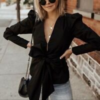 ZARA NEW PUFF SLEEVE JACKET WITH TIE FASTENING BOW V-NECK BLACK SIZE S M XL