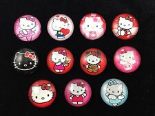 HELLO KITTY 20mm GLASS DOME FLATBACK CABOCHON EMBELLISHMENTS SCRAPBOOKS 11pcs B