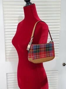 COACH WOMEN'S RED PLAID MINI PURSE 100 % WOOL BAGUETTE SIZE S 684