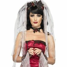 Women's Fancy Dress Gothic Bride Kit & Rose Veil Choker Gloves Halloween Hen Fun