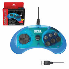 Retro-Bit 6-button Clear Blue USB controller for the SEGA Genesis Mini