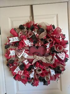 Farm house style one of a kind valentines wreath. Very Classy