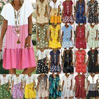 Women's Summer Dress Tops Ladies Holiday Beach Casual Loose Shirt Sundress #AA